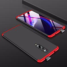Custodia Plastica Rigida Cover Opaca Fronte e Retro 360 Gradi per Xiaomi Mi 9T Rosso e Nero