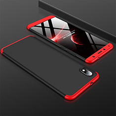 Custodia Plastica Rigida Cover Opaca Fronte e Retro 360 Gradi per Xiaomi Redmi 7A Rosso e Nero