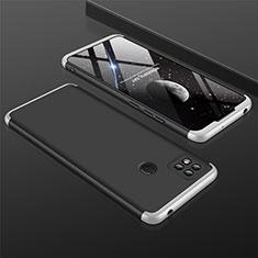 Custodia Plastica Rigida Cover Opaca Fronte e Retro 360 Gradi per Xiaomi Redmi 9 India Argento e Nero