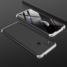 Custodia Plastica Rigida Cover Opaca Fronte e Retro 360 Gradi per Xiaomi Redmi 9C Argento e Nero