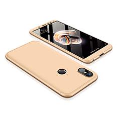 Custodia Plastica Rigida Cover Opaca Fronte e Retro 360 Gradi per Xiaomi Redmi Note 5 Pro Oro