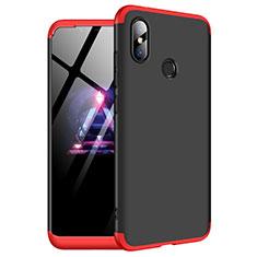 Custodia Plastica Rigida Cover Opaca Fronte e Retro 360 Gradi per Xiaomi Redmi Note 6 Pro Rosso e Nero
