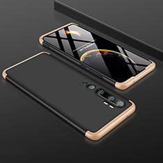 Custodia Plastica Rigida Cover Opaca Fronte e Retro 360 Gradi R01 per Xiaomi Mi Note 10 Pro Oro e Nero