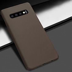 Custodia Plastica Rigida Cover Opaca M01 per Samsung Galaxy S10 Plus Marrone