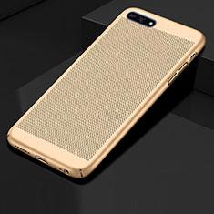 Custodia Plastica Rigida Cover Perforato per Huawei Y6 Prime (2018) Oro
