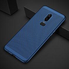Custodia Plastica Rigida Cover Perforato per OnePlus 6T Blu