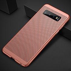 Custodia Plastica Rigida Cover Perforato per Samsung Galaxy S10 Plus Oro Rosa