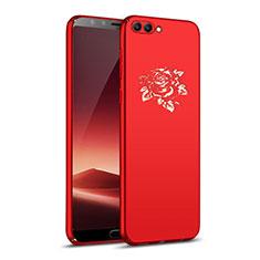 Custodia Plastica Rigida Fiori per Huawei Nova 2S Rosso