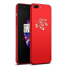 Custodia Plastica Rigida Fiori per OnePlus 5 Rosso