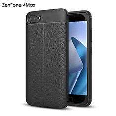 Custodia Plastica Rigida In Pelle per Asus Zenfone 4 Max ZC554KL Nero