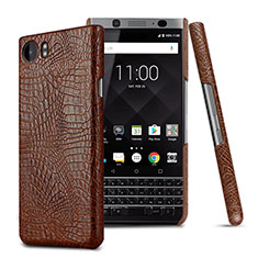 Custodia Plastica Rigida In Pelle per Blackberry KEYone Marrone