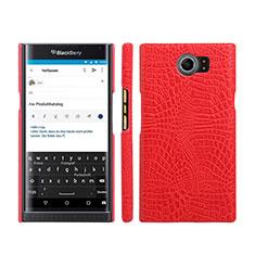 Custodia Plastica Rigida In Pelle per Blackberry Priv Rosso