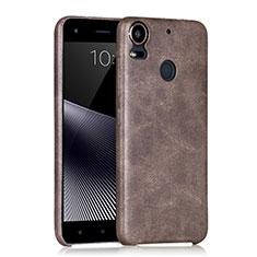 Custodia Plastica Rigida In Pelle per HTC Desire 10 Pro Marrone