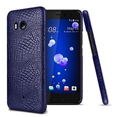 Custodia Plastica Rigida In Pelle per HTC U11 Blu