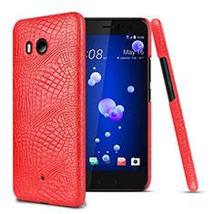Custodia Plastica Rigida In Pelle per HTC U11 Rosso
