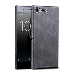 Custodia Plastica Rigida In Pelle per Sony Xperia XZ Premium Nero
