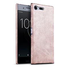 Custodia Plastica Rigida In Pelle per Sony Xperia XZ Premium Oro Rosa