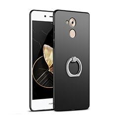 Custodia Plastica Rigida Opaca con Anello Supporto A02 per Huawei Enjoy 6S Nero