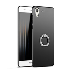 Custodia Plastica Rigida Opaca con Anello Supporto A02 per Huawei Honor 5A Nero