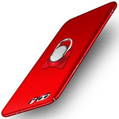 Custodia Plastica Rigida Opaca con Anello Supporto A02 per Huawei Honor 9 Premium Rosso