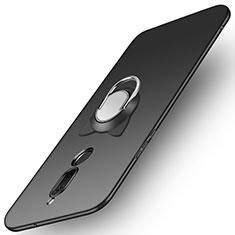 Custodia Plastica Rigida Opaca con Anello Supporto A02 per Huawei Mate 10 Lite Nero