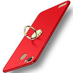 Custodia Plastica Rigida Opaca con Anello Supporto A02 per Huawei P8 Lite Smart Rosso