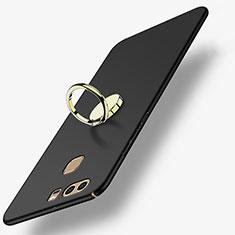 Custodia Plastica Rigida Opaca con Anello Supporto A02 per Huawei P9 Nero
