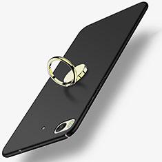 Custodia Plastica Rigida Opaca con Anello Supporto A02 per Xiaomi Mi 5S Nero