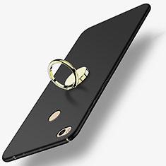 Custodia Plastica Rigida Opaca con Anello Supporto A02 per Xiaomi Mi Max 2 Nero