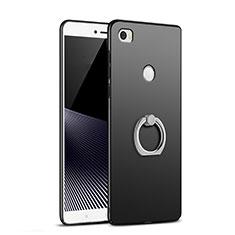 Custodia Plastica Rigida Opaca con Anello Supporto A02 per Xiaomi Mi Max Nero