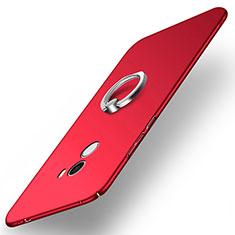 Custodia Plastica Rigida Opaca con Anello Supporto A02 per Xiaomi Mi Mix Rosso