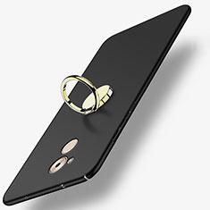 Custodia Plastica Rigida Opaca con Anello Supporto A03 per Huawei Enjoy 6S Nero