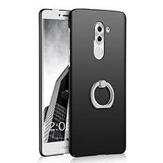 Custodia Plastica Rigida Opaca con Anello Supporto A03 per Huawei Honor 6X Nero