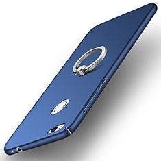 Custodia Plastica Rigida Opaca con Anello Supporto A03 per Huawei Honor 8 Lite Blu