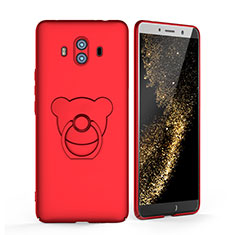 Custodia Plastica Rigida Opaca con Anello Supporto A03 per Huawei Mate 10 Rosso