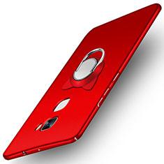 Custodia Plastica Rigida Opaca con Anello Supporto A03 per Huawei Mate S Rosso