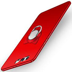 Custodia Plastica Rigida Opaca con Anello Supporto A03 per Huawei P10 Rosso