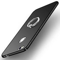 Custodia Plastica Rigida Opaca con Anello Supporto A03 per Huawei P8 Lite (2017) Nero