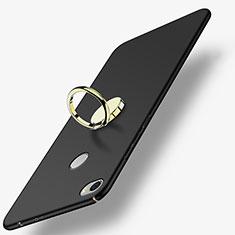 Custodia Plastica Rigida Opaca con Anello Supporto A03 per Xiaomi Mi Max Nero