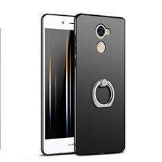 Custodia Plastica Rigida Opaca con Anello Supporto A04 per Huawei Enjoy 7 Plus Nero