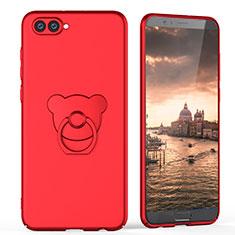 Custodia Plastica Rigida Opaca con Anello Supporto A04 per Huawei Honor V10 Rosso