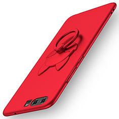 Custodia Plastica Rigida Opaca con Anello Supporto A04 per Huawei P10 Rosso