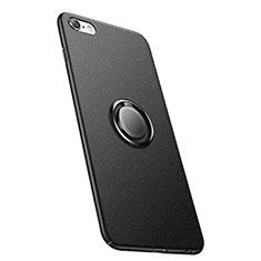 Custodia Plastica Rigida Opaca con Anello Supporto A05 per Apple iPhone 6S Nero