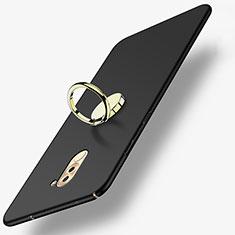 Custodia Plastica Rigida Opaca con Anello Supporto A05 per Huawei Honor 6X Nero