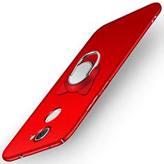 Custodia Plastica Rigida Opaca con Anello Supporto A05 per Huawei Y7 Prime Rosso