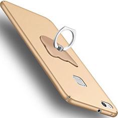 Custodia Plastica Rigida Opaca con Anello Supporto C01 per Huawei P10 Lite Oro