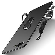 Custodia Plastica Rigida Opaca con Anello Supporto e Cordoncino per Huawei Honor 10 Nero