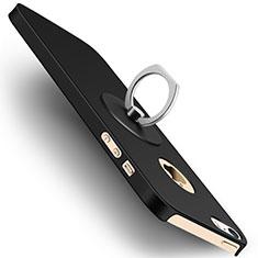 Custodia Plastica Rigida Opaca con Anello Supporto per Apple iPhone SE Nero