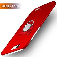 Custodia Plastica Rigida Opaca con Anello Supporto per Huawei Ascend G7 Rosso