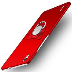 Custodia Plastica Rigida Opaca con Anello Supporto per Huawei Ascend P7 Rosso